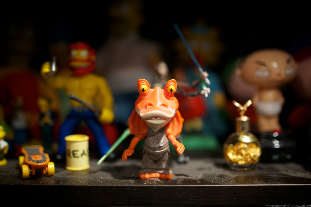 Jar Jar Binks sits guard over one of Josh Grabelle's many shelves of treasures.
