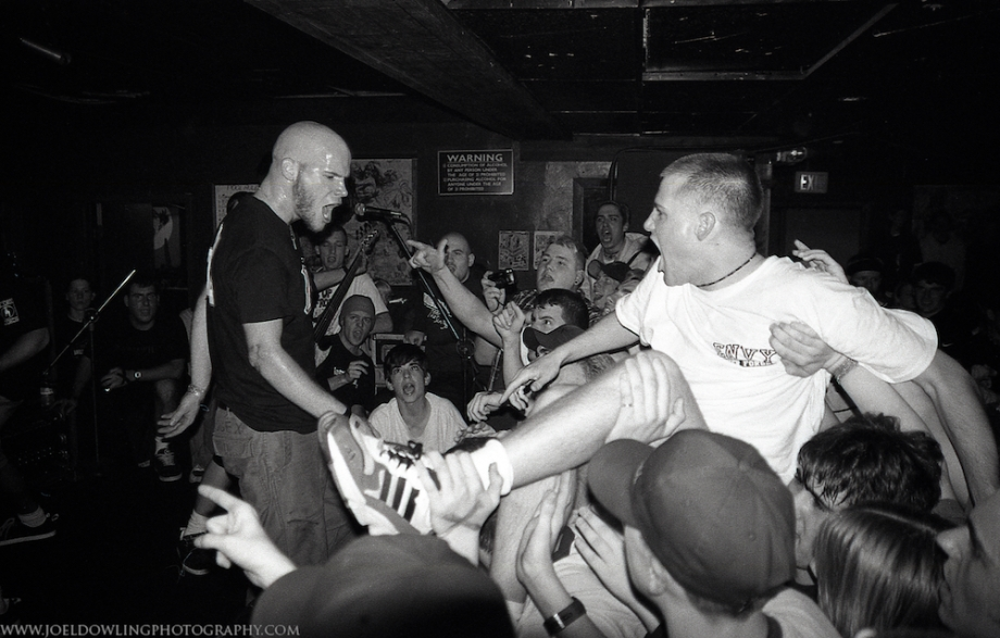 1997.4.20 - Syracuse, NY - Hungry Charley's - Strife.  Scott Vogel (Terror, Buried Alive, Despair, Slugfest, etc.) sings along with Strife's Rick Rodney.